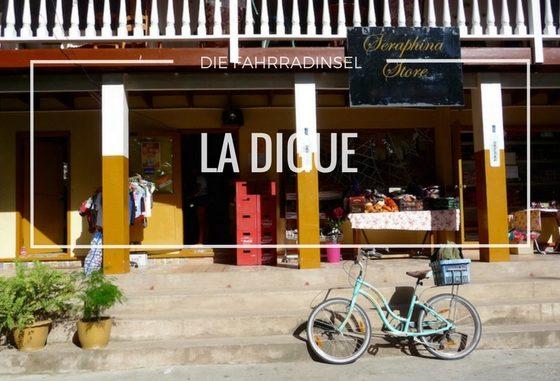 Fahrrad vor Supermarkt auf Seychelleninsel La Digue